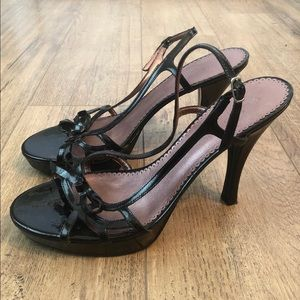 GUESS Patent Leather Strappy Open Toe Bow Heels